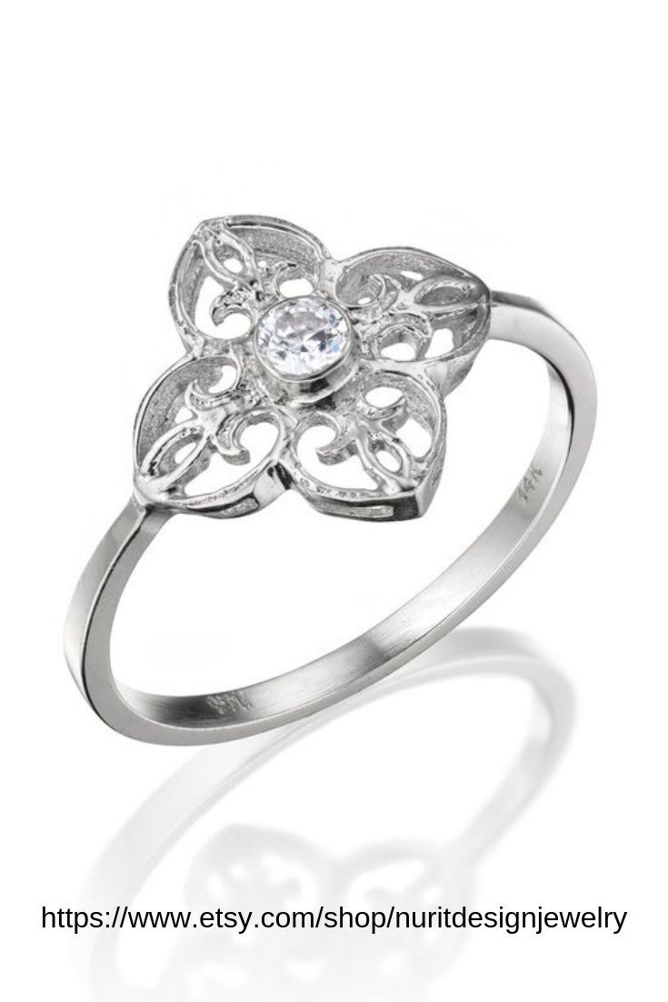 ec01eecdf6cd8 18k White Gold Floral Engagement Ring, Bridal Diamond Unique Ring ...