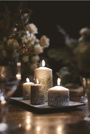 velas decoradas con purpurina, escarcha o brillantina para fiestas y eventos