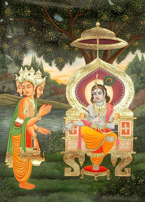 Apologetic Brahma Seeks Pardon from Krishna (From the Shrimad Bhagavata Purana)