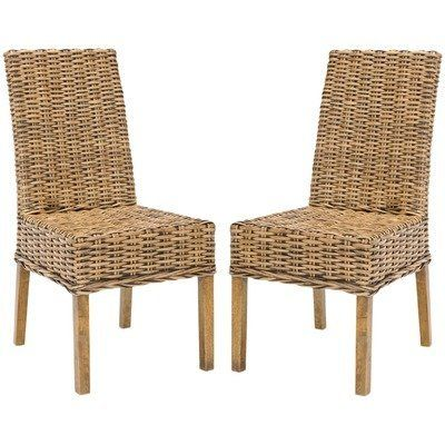 Safavieh Home Collection Aubrey Walnut Wicker Side Chair Set Of 2 By 18605 No Assembly Required These Chairs Measure 24 Inch Wide