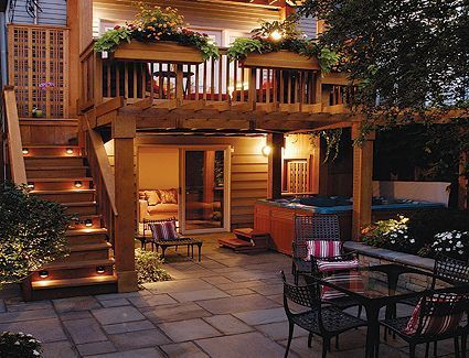 Second floor deck with stairs and containers, cool idea for enhancing current space