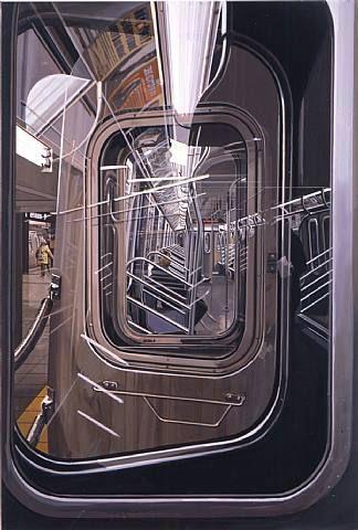 "Mirror Images - AQA art theme ""The L Train"" (2009) Richard Estes #art #photorealism #chicago www.dunottarschool.com"