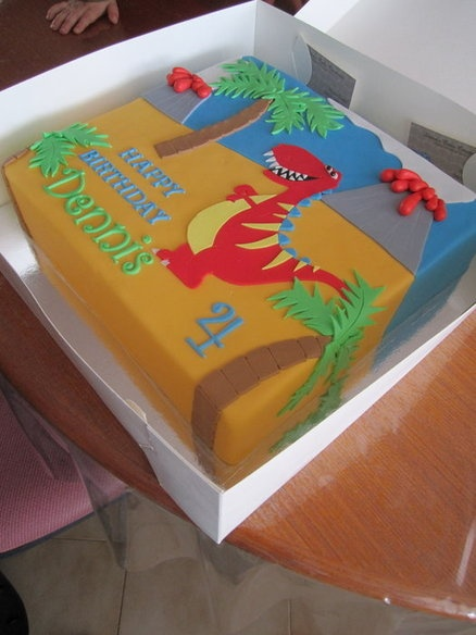 I like this...Michael, not so much--- Dinosaur cake