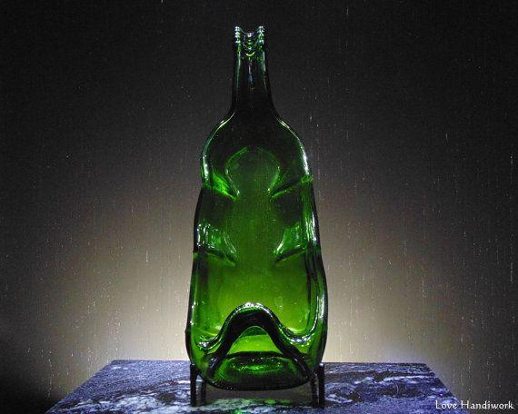 Slumped Bottle Candle Holder  Single  Green by LoveHandyWork