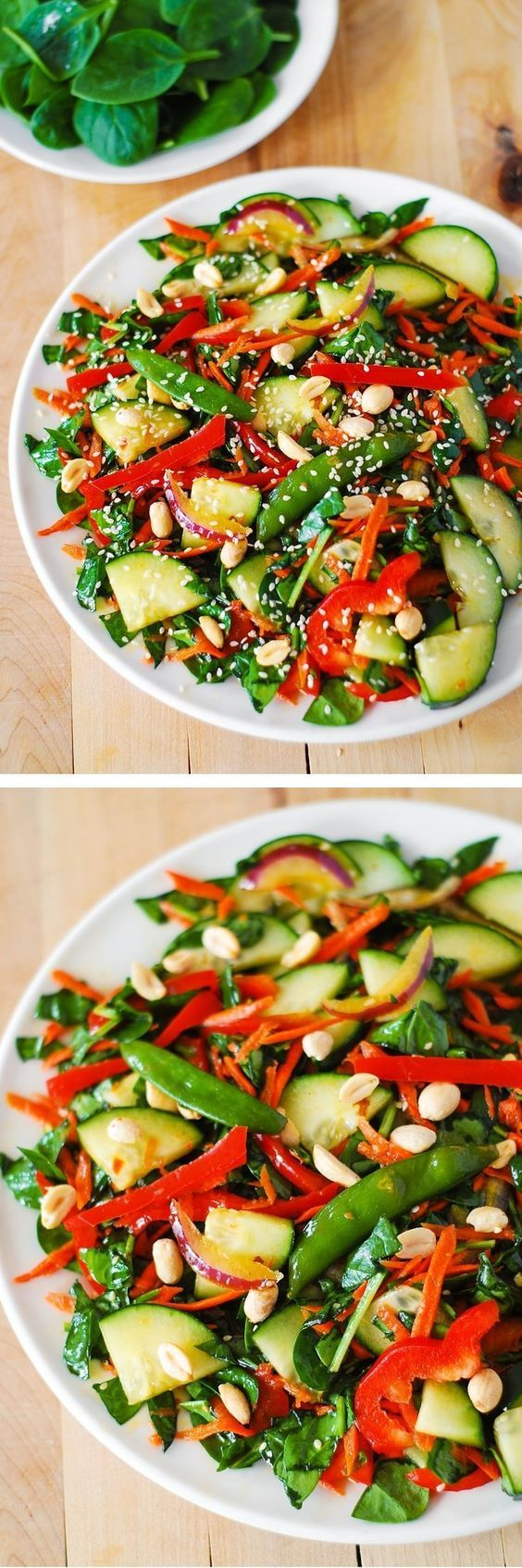 Healthy, vegetarian, and gluten free recipe: Crunchy Asian salad with peanut dressing. Vegetables tossed in a delicious, homemade peanut dressing, and topped with toasted peanuts and sesame seeds. The salad dressing is both sweet and sour, and very creamy!