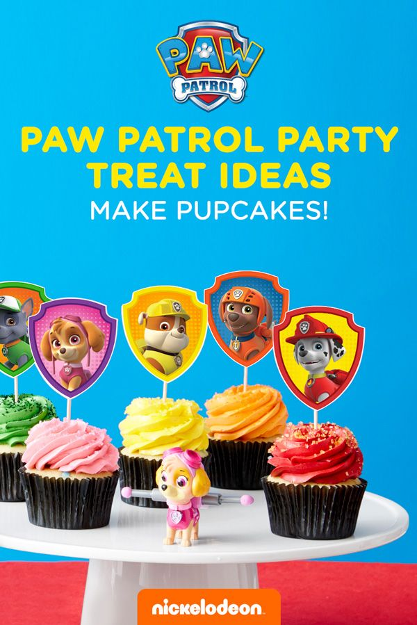 Transform plain store-bought cupcakes into super PAWsome PAW Patrol cupcakes! You'll be the most pupular parent when you use this party hack and your kid's PAW Patrol birthday party. Use a color printer to print the correct number of wrapper templates. Cut out along the dotted lines and hold the ends together with your fingers to measure the size of your cupcake. Secure with tape or glue.  Complete the presentation with our matching cupcake toppers and get ready to chow down, puppy-style!