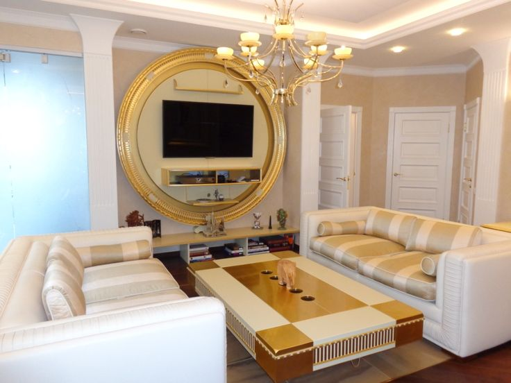 Golden project by @klassmebel in Saint Petersburg, with Vismara Design Art Deco Stargate Tv Stand and Ciaika Coffee Table in cream and Gold foil finishings. #luxury #madeinitaly #italianfurniture #artdeco