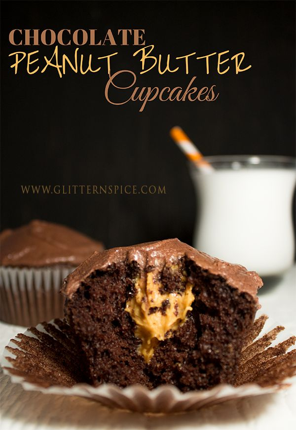 Chocolate Peanut Butter Cupcakes made with a Reese boxed cupcake mix.