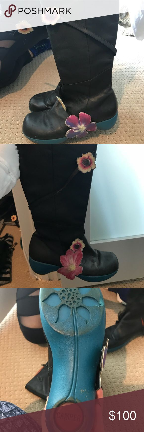 Camper boots with flowers Vintage Camper boots Size 38. Excellent condition. Collection item! Detachable flowers Camper Shoes Heeled Boots