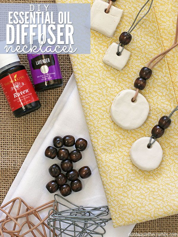 Easy tutorial for DIY Essential Oil Diffuser Neckalce made out of clay, plus tips to prevent the oil from touching the skin or clothes!