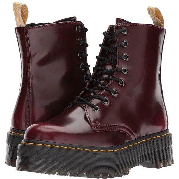 Dr. Martens Vegan Jadon II 8-Eye Boot (Cherry Red Cambridge Brush)... ($175) ❤ liked on Polyvore featuring shoes, boots, ankle boots, platform ankle boots, faux-leather boots, vegan ankle boots, faux leather ankle boots and zip ankle boots