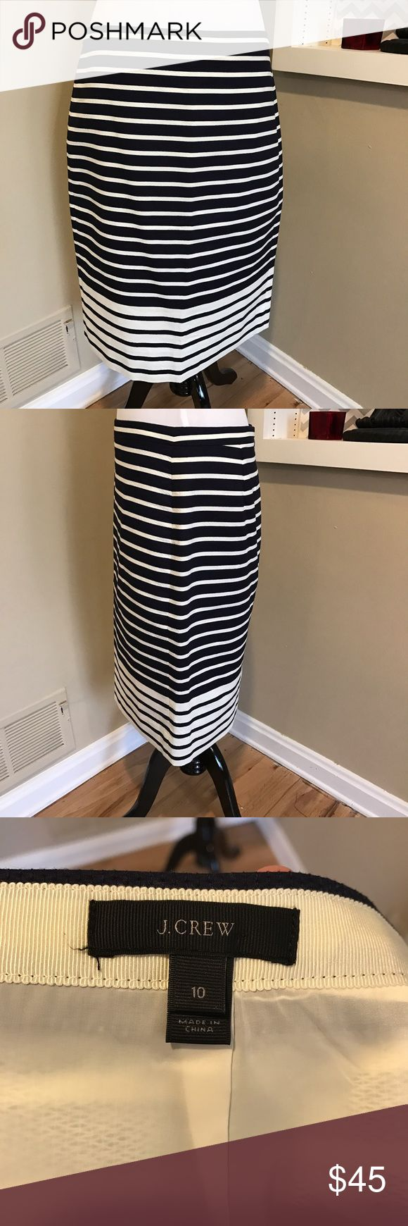 Jcrew striped pencil skirt Navy and white striped pencil skirt. Great fit and fun pattern. No tags but never worn. J. Crew Skirts Pencil