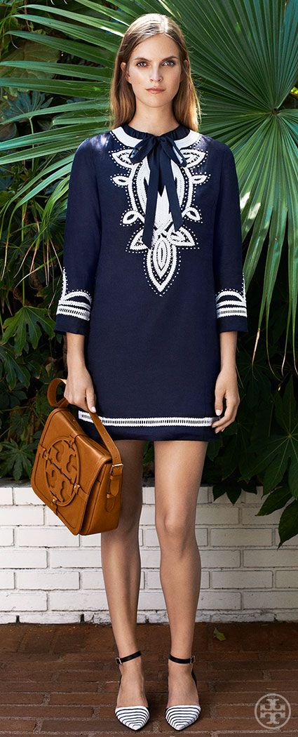 Offset crisp navy and white with the warmth of saddle-brown leather | Tory Burch Resort 2014