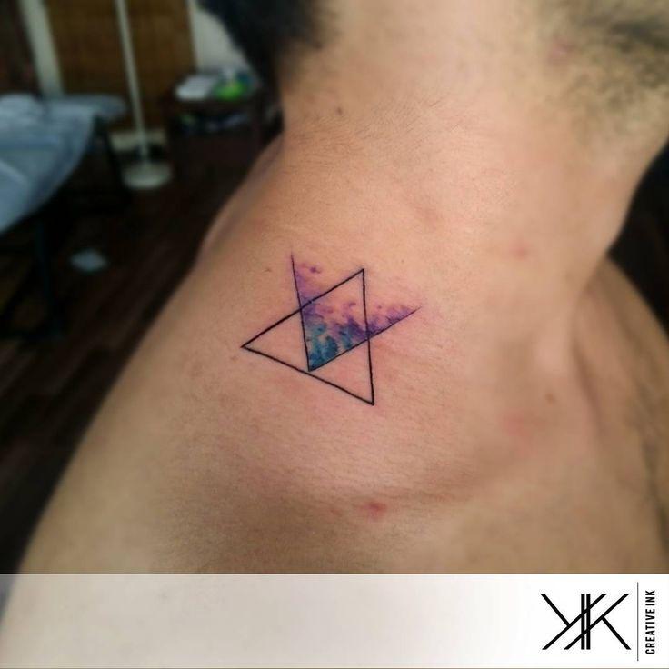 "Tattoo Artist: Koray Karagözler - Antalya, Turkey www.tatteo.com ""#watercolor #koraykaragozler #koraykaragözler #triangle #tattoo #watercolortattoo"""