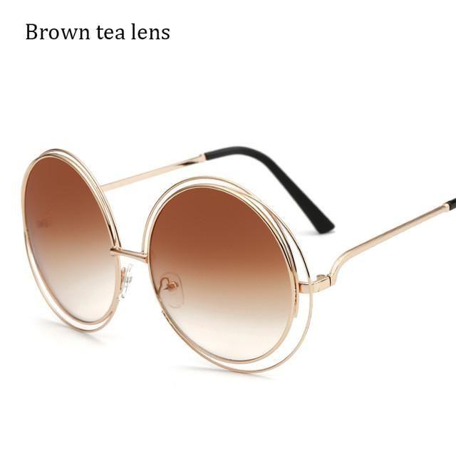 Metal Round Sunglasses Women Sun Glasses for Women Ladies Shades Sunglasses Female Luxury Brand Designer Eyewear Oculos Lunette