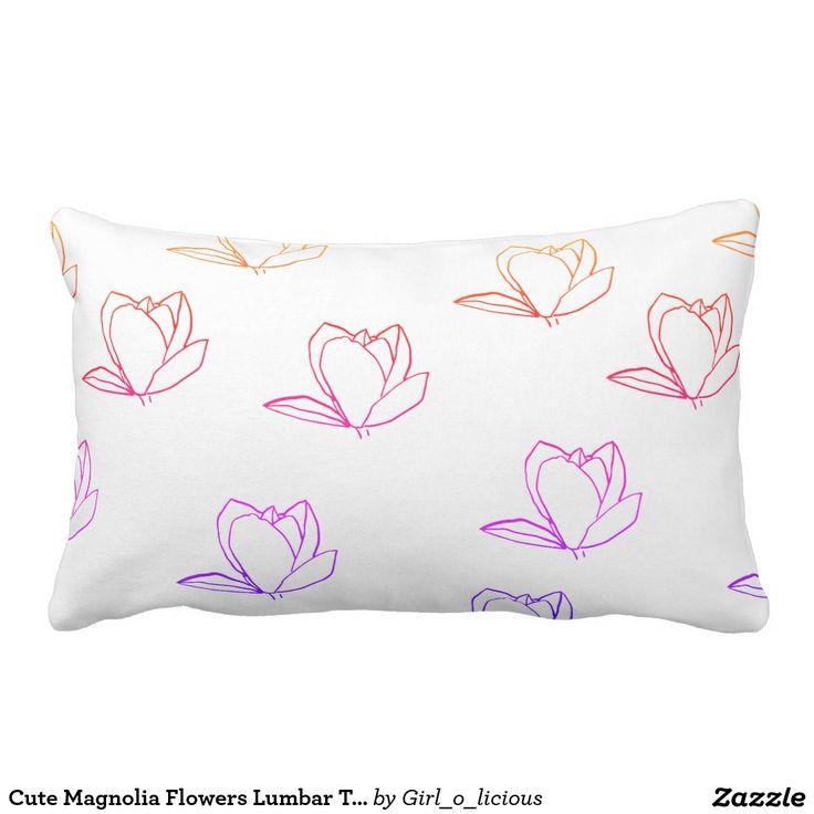 Cute Magnolia Flowers Lumbar Throw Pillow Cushion
