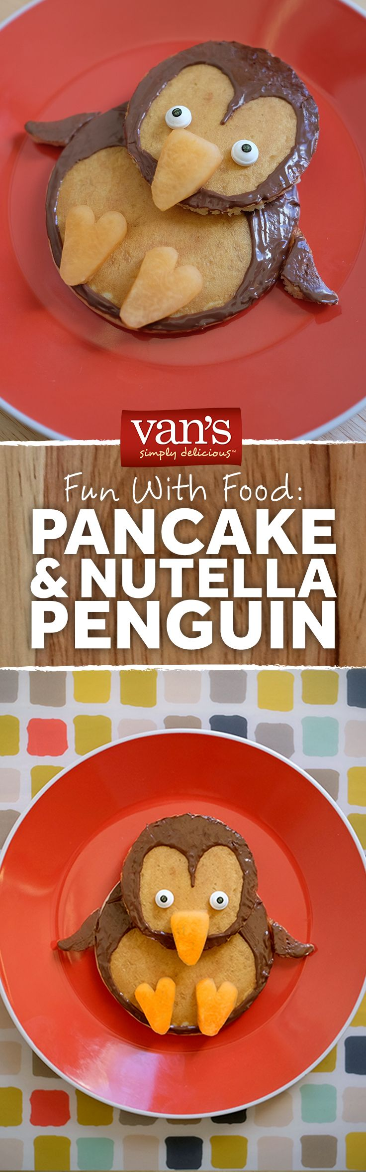 Fun breakfasts are the best breakfasts! Dish up a pancake penguin with some creative use of Nutella!
