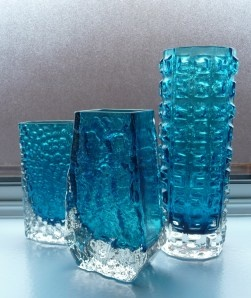 Kingfisher blue Whitefriars vases