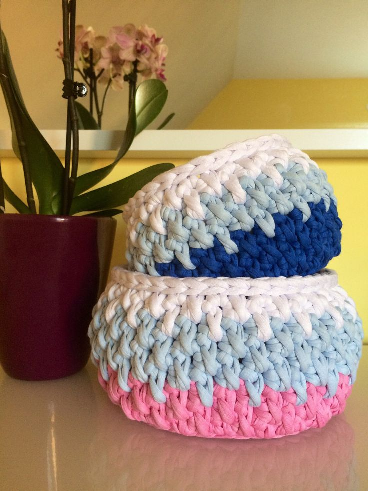 A personal favourite from my Etsy shop https://www.etsy.com/listing/507915841/set-of-2-baskets-crochet-bowls-small