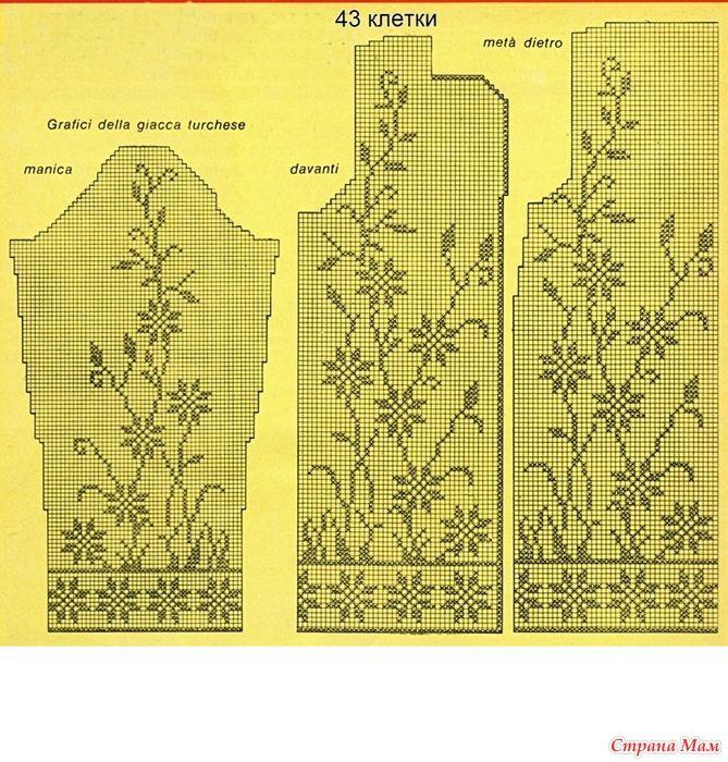"""Кардиган """"Васильки"""" (дополнено - как рассчитать свой размер) (дополнено - схемы на большее и на меньшее кол-во клеток)"""