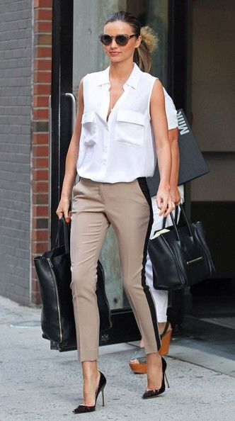 Miranda Kerr does it again... a great classic look that is so on trend. Note to you fashion lovers this shape trouser is so on trend and the black strip will make your legs look super long!