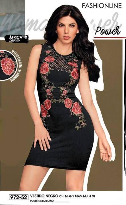 142a2eec1 Vestido negro floral, vestido negro sin mangas, vestido negro corto a la  moda, vestido Cklass color negro, Africa Zavala,