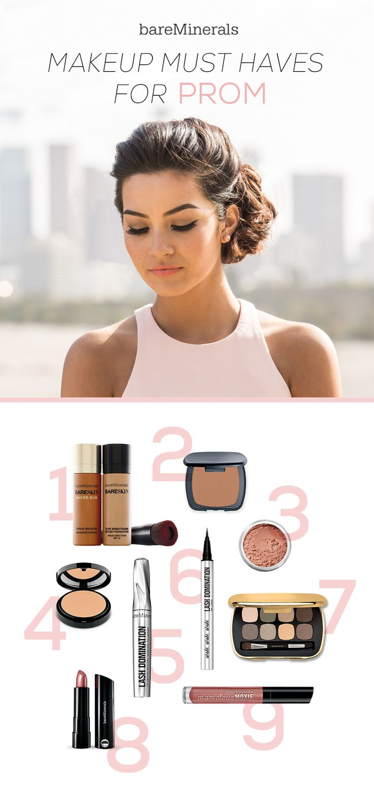 Be glam at prom with these makeup must haves: 1) Mix BareSkin Foundation + BareSkin Sheer Sun Bronzer for flawless sun-kissed skin, 2) Ready Bronzer in High Dive 3) Golden Gate Blush, 4) Set your base with bareSkin Perfecting Veil, 5) Pump up your lashes with Lash Domination Volumizing Mascara, 6) Take the drama up a notch with Lash Domination Ink Liner, 7) Ready Eyeshadow 8.0 in The Power Neutrals, 8) Marvelous Moxie Lipstick in Speak your Mind, and 9) Marvelous Moxie Lipgloss in Spark…