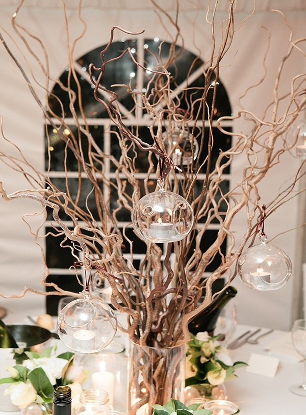 Twisted willow with hanging tealights centrepieces by Touched By Angels www.touchedbyangels.com.au