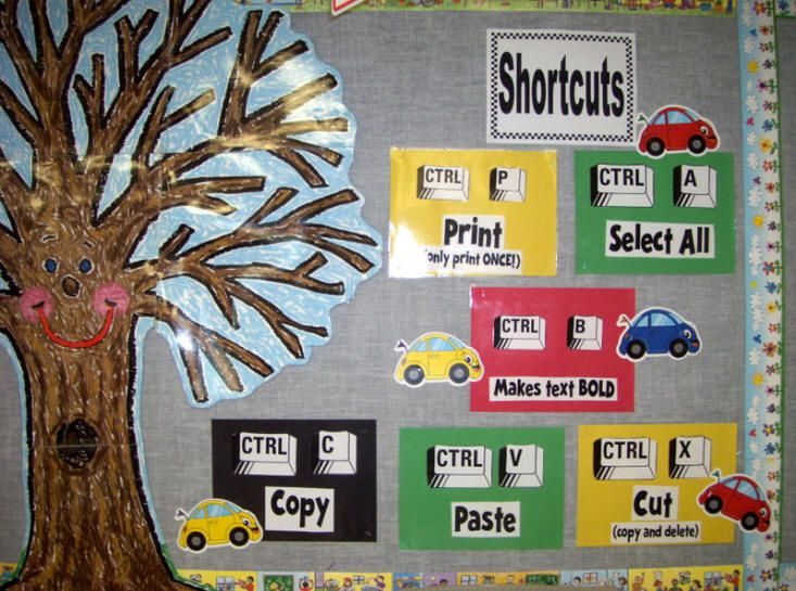 Bulletin Boards for the Music Classroom -Computer Shortcuts.  Love this simple and colorful reminder.