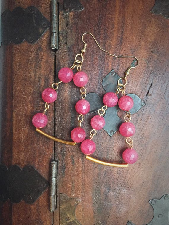 Boho Pink and Gold Earrings Pink Dangle and Drop by Wikklow