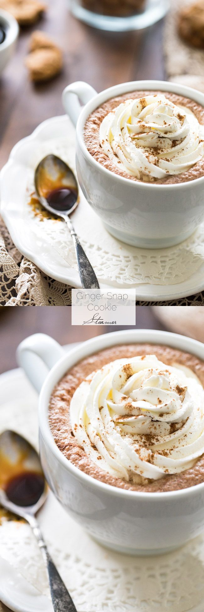 Ginger Snap Cookie Steamer -  The best taste of Christmas cookies and milk in one, SUPER easy, cozy drink! | Foodfaithfitness.com | #recipe