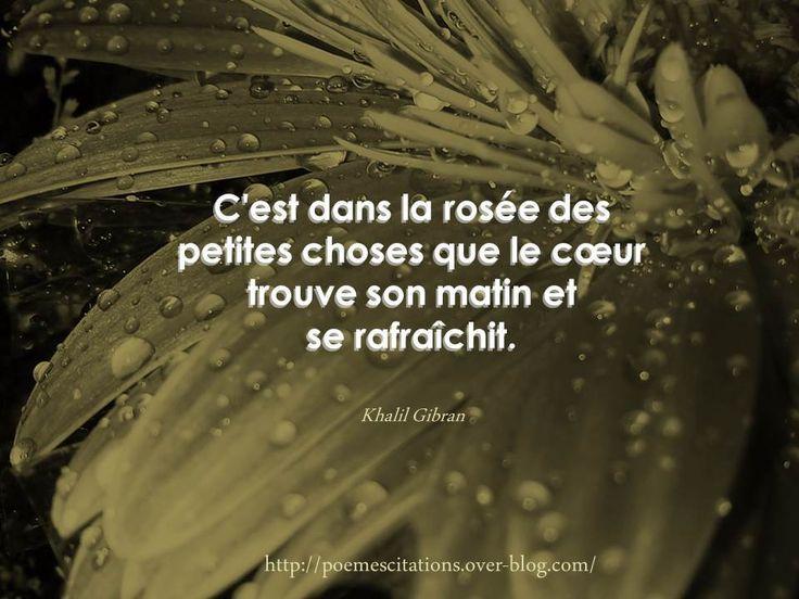 """""""C'est dans la rosée des petites choses que le cœur trouve son matin et se rafraîchit."""" Khalil Gibran Khalil Gibran"""