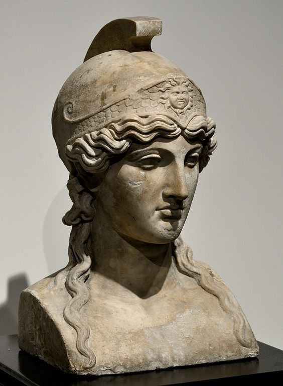 Minerva Athena, Roman herm marble, copy after Greek original from the school of Phidias, 1st century A.D. Museo Archeologico Nazionale, Naples