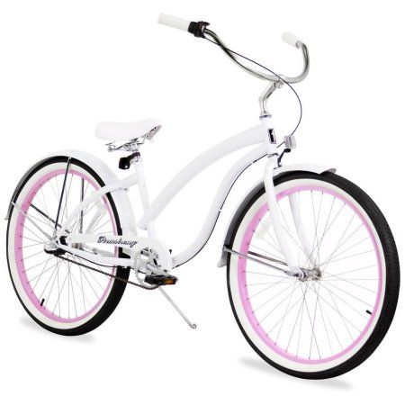 Sixthreezero 26 inch Firmstrong Bella Fashionista Three Speed Women's Beach Cruiser Bicycle, White with Pink Rims