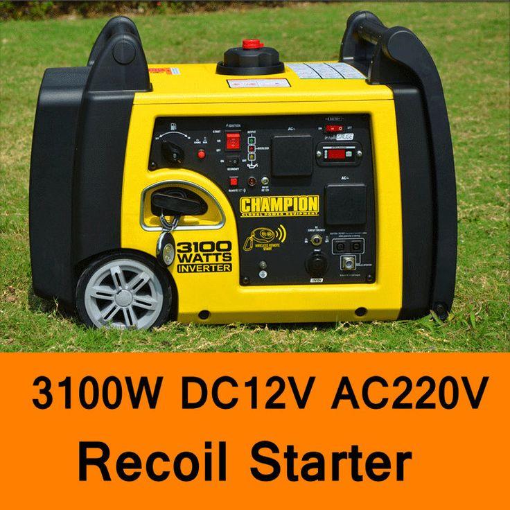 3100W DC 12V AC 220V Gasoline Inverter Generator Recoil Starter Home Car Household Gasoline Generators Portable Silent Generator #Affiliate