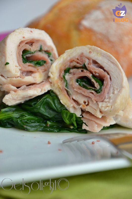 rolatine di pollo al vapore con prosciutto e spinaci