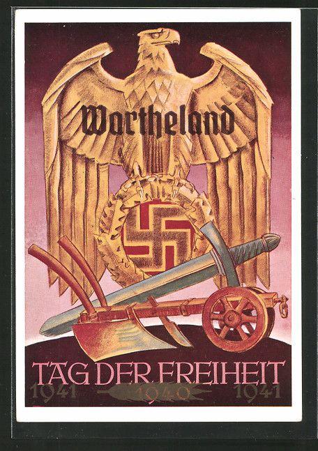 old postcard: AK Wartheland, Tag der Freiheit 1941, Hoheitsadler mit Hakenkreuz