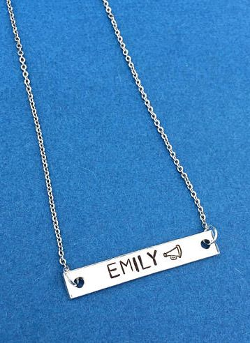 Personalized Bar Necklace, Cheerleading Gift, Hand Stamped Necklace, Cheerleader, Name Necklace, Cheer Jewelry, Cheer Coach, Cheer Necklace #ad