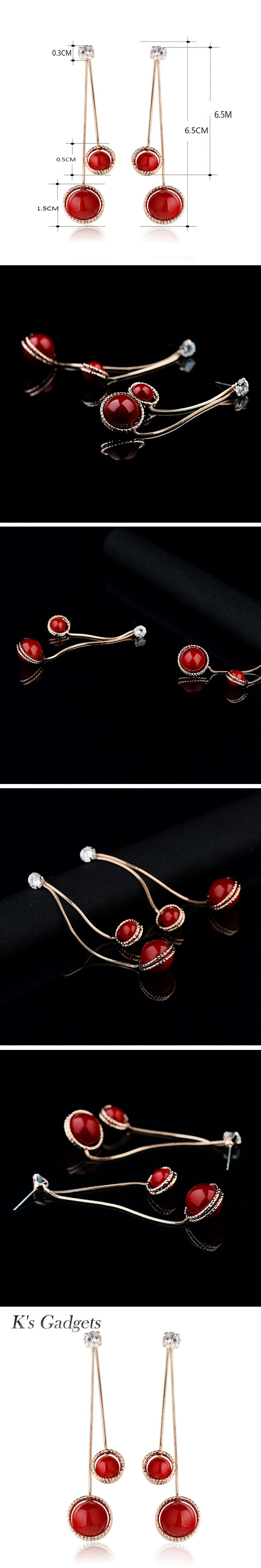 Long Earrings With Stones Artificial Red Coral Earrings Rose Gold color For Women Rhinestone Big Drop Earrings Fashion Jewelry