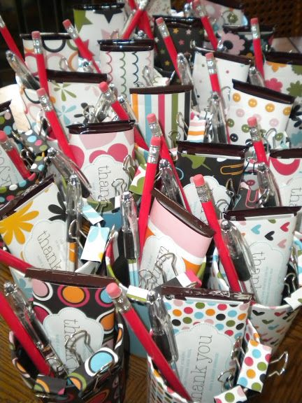 Volunteer Appreciation Gifts- put patterned paper into clear pen tubes, mod-podge binder clips tutorial.