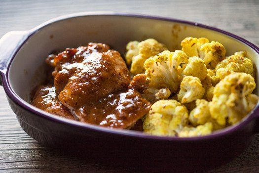 Maple Mustard Chicken w/ Roasted Curried Cauliflower @artfulgourmet #comfortfood #onepotdish