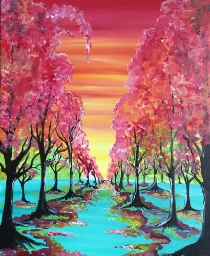 The Colorful Path - Paint Nite Painting