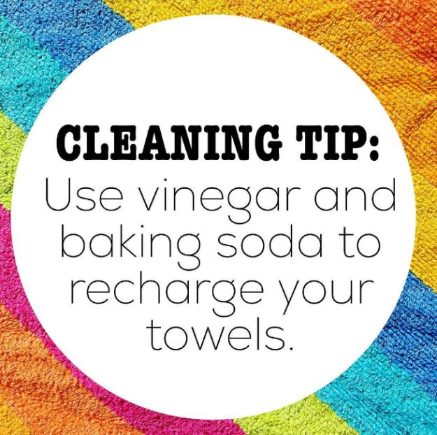 Vinegar and baking soda go a long way in bringing your towels back to life. | 21 Instagram Cleaning Hacks That Are Borderline Genius