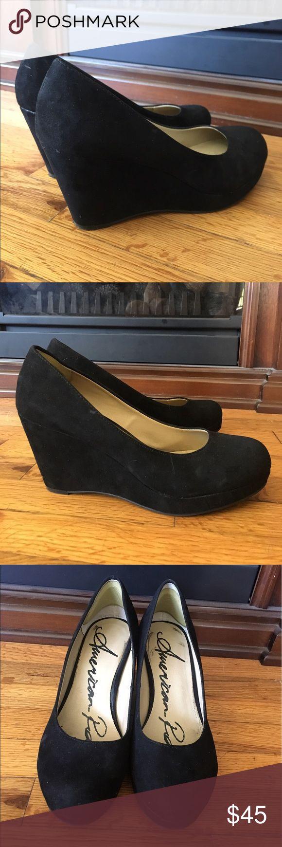 "Kenna Platform Wedge Pumps Round, closed-toe slip-on platform wedge pumps. Microsuede upper, manmade sole. 3"" wedge heel, 1"" platform. Worn three times. American Rag Shoes Wedges"