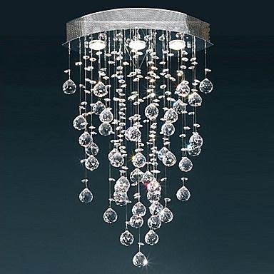 Comtemporary Crystal Flush Mount Lights with 3 Lights GU10 Bulb Base – USD $ 129.99