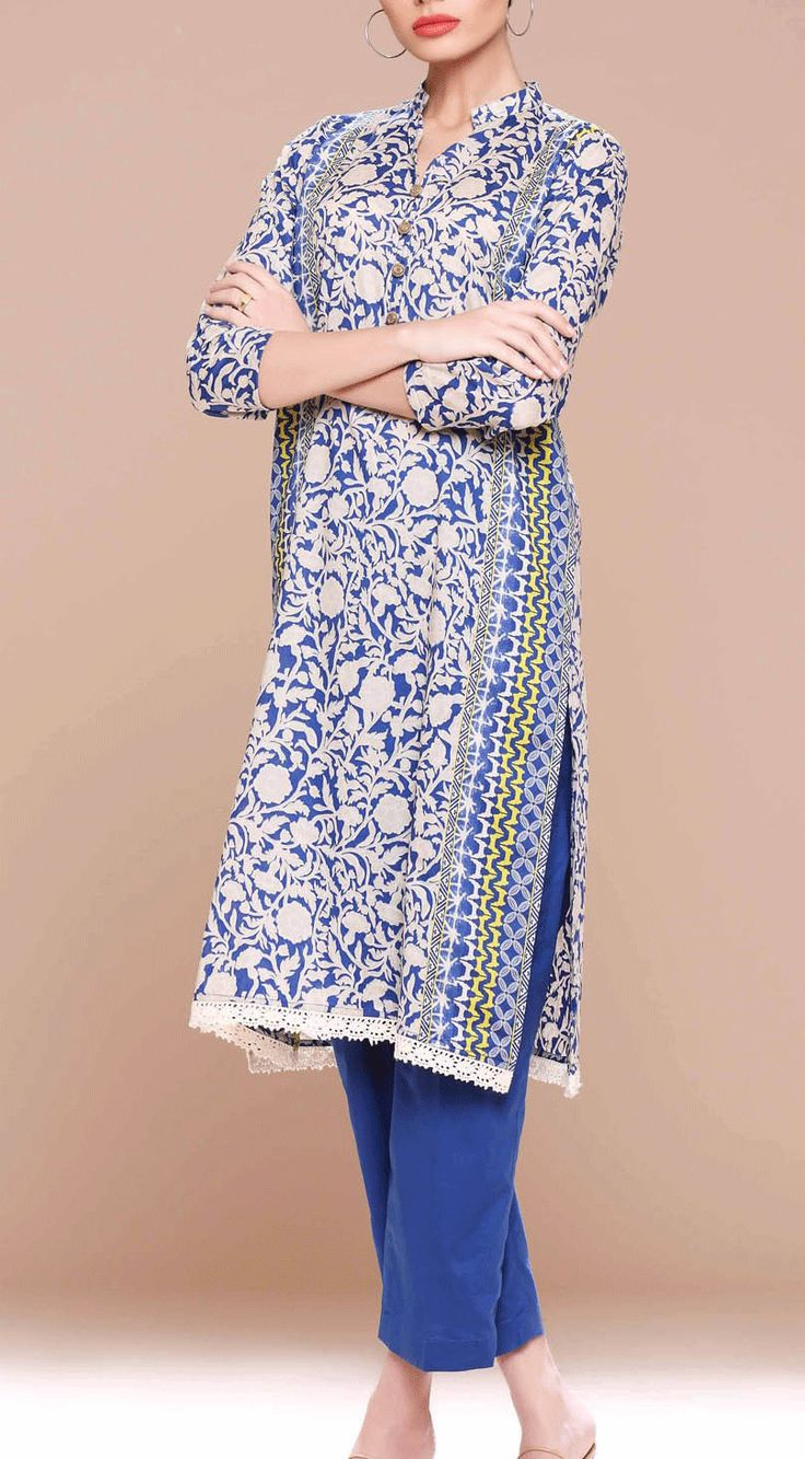 Buy Blue Printed Cotton Lawn Kurti by Khaadi Lawn Collection 2015.