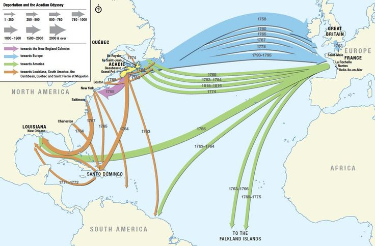 Destinations and movements of the deportees during the Acadian Expulsion.