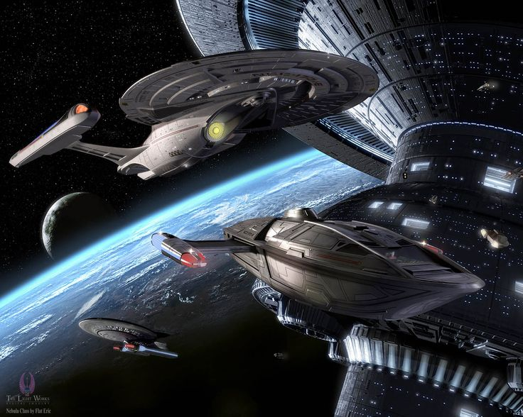 New Star Trek Starship | Sovereign-class starship and her captain's yacht near Spacedock by ...