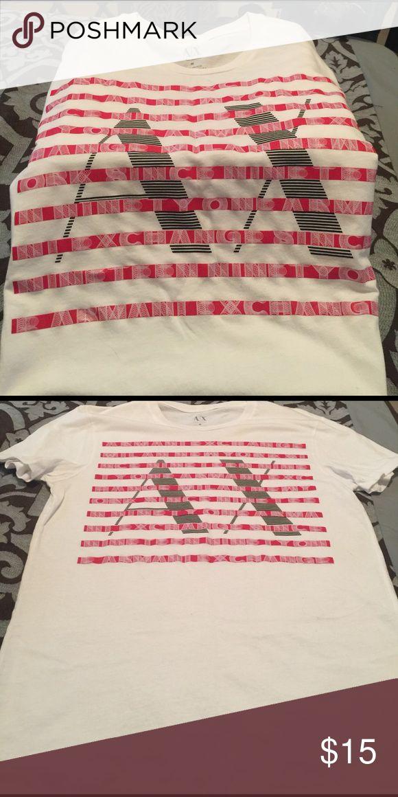 Armani T-Shitt White Armani T-Shirt with red and black design. New never worn. Size medium A/X Armani Exchange Shirts Tees - Short Sleeve
