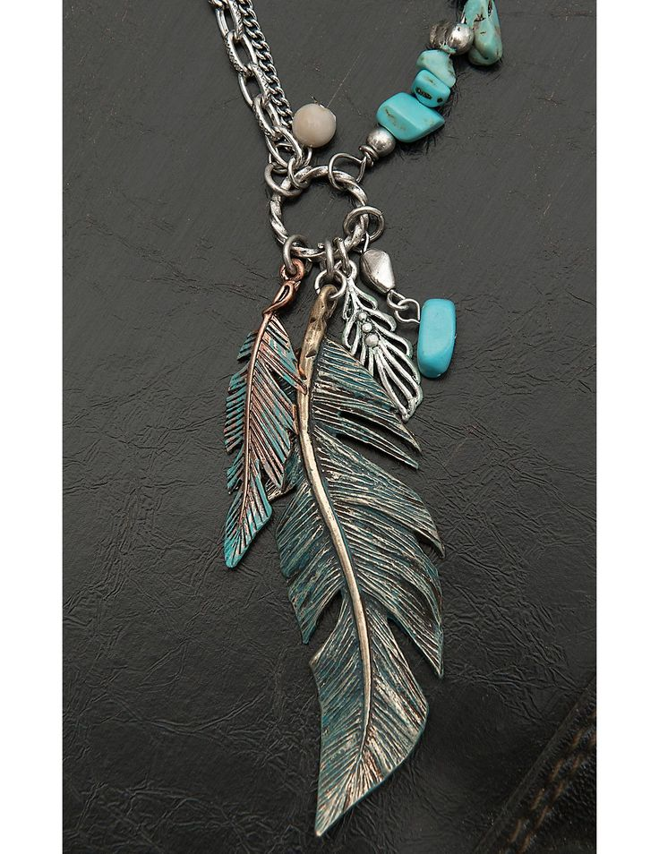 Blazin Roxx Ladies Silver with Turquoise Beads and Feather Necklace and Earrings Jewelry Set | Cavender's